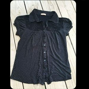 Rockabilly Black & White Polkadot Lace-Inset Top